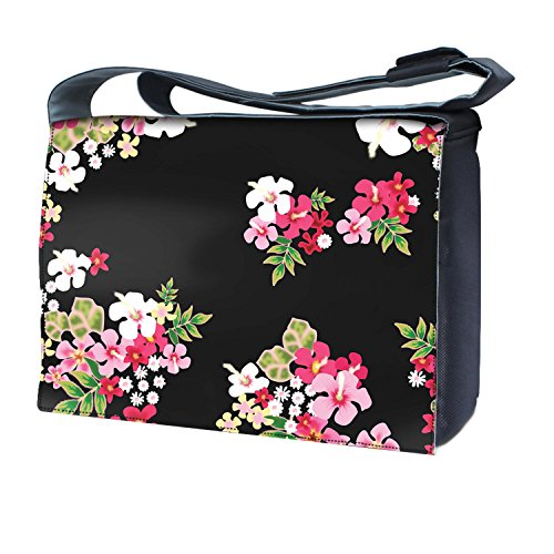 Ektor - Bolso al hombro para mujer Flowers on black background