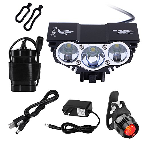 Nestling 3000Lm Rechargeable LED Mountain Cycle lights Front Bike lights Bicycle Light Headlamp Torch Headlight Rechargable Head Lights Flashlight 6400mah Battery