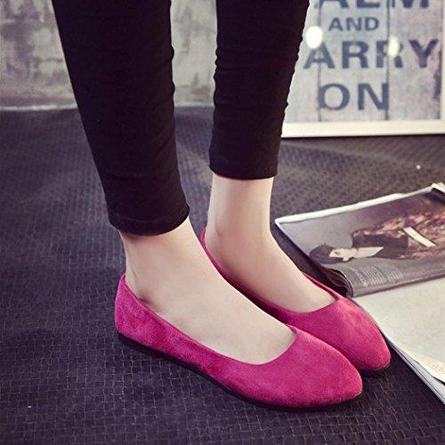 Hunpta Damen Damen Slip auf flachen Schuhe Sandalen Casual Ballerina Schuhe Hot Pink