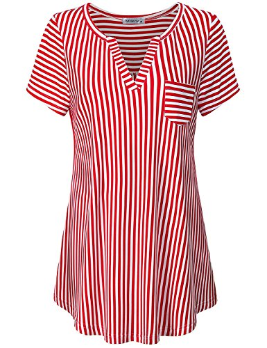 (MOQIVGI Spring Tops for Women, Lady Fashion Short Sleeve V Neck Feminine Career Shirts Sexy Striped Relaxed Loose Blouses Stylish Dressy Tunics for Leggings Red White X-Large)