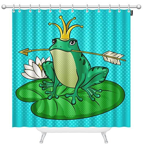 (Mugod Green Frog Shower Curtain Princess Frog Fairy Tale Animal Pop Art Retro Home Lush Decor Bathroom Waterproof Fabric Bathroom Decor Set with 12Hooks 72