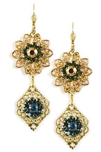 Clara Beau Multicolor Swarovski Glass Crystal Cluster Goldtone Filigree Drop Earrings (Mother Nature Costume Homemade)