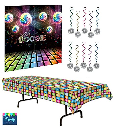 70s Party Decorations Pack - Disco Ball Whirls 70s Theme Back Back Drop and Disco Tablecover
