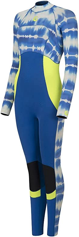 Womens GlideSoul Full Length 3mm Wetsuit Back Zip Blue Tie Dye Print