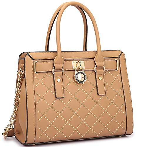 Lined Quilted Satchel - Dasein Fashion Women's Faux Leather Quilted Padlock Satchel Handbag Briefcase With Shoulder Strap (Studded, Tan)