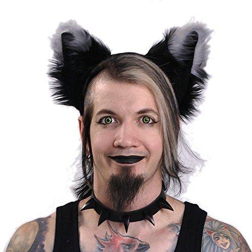 Pawstar Yip Tip Dark Fox Furry Ear Headband Costume Ears - Gray