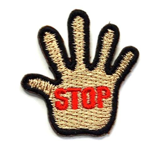 【ノーブランド品】アイロンワッペン ミニワッペン ワッペン 刺繍ワッペン 手 stop アイロンで貼れるワッペンの商品画像