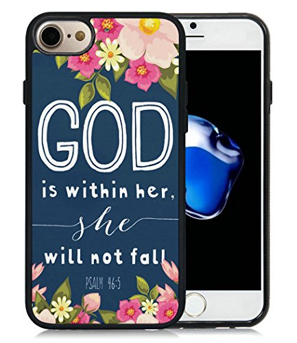 Price comparison product image Case for iPhone 7,God Is Within Her She Will Not Fall Psalm 46:5 Quotes iPhone 7 Case (TPU Black)