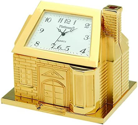Sanis Enterprises House Clock, 2.5 by 2.5-Inch, Gold