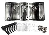 Kingsman 42 inch Zero Radius Design 16 Gauge Undermount Triple Bowl Stainless Steel Kitchen Sink Premium Package KKR-F4220