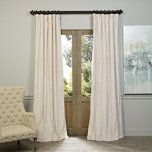 52″ W x 102″ L (set of 2 Panels) Pinch Pleat 90% Beige Lining Blackout Velvet Solid Curtain Thermal Insulated Patio Door Curtain Panel Drape For Traverse Rod and Track, Ivory Curtain Review