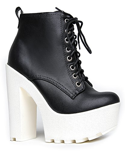 Lace Up Chunky Platform Lace Up Heeled Ankle Boot Bootie, Black PU, 10 B(M) US