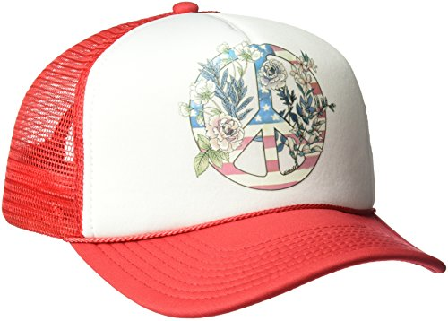 O'Neill Women's Freedom Folk Screen Print Trucker Hat, Red/Red, One Size - Oneill Mesh Hat