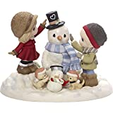 Precious Moments Top It All Off With Love Limited Edition Couple With Snowman Bisque Porcelain Sculpture 171020