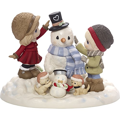 Precious Moments Top It All Off With Love Limited Edition Couple With Snowman Bisque Porcelain Sculpture (Moment Limited Edition)