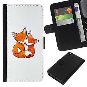 EJOY---La carpeta del tirón la caja de cuero de alta calidad de la PU Caso protector / HTC DESIRE 816 / --zorro amor