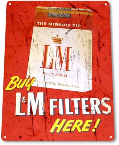 - TIN Sign LM Filters Cigarettes Tin Metal Sign Cigar Bar Smoke Shop Decor