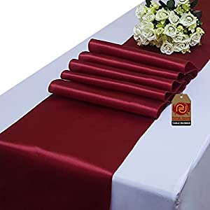 Parfair Dessin Pack of 10 Satin Table Runners 12 x 108 inch for Wedding Banquet Reception Party Decoration, Bright Silk and Smooth Fabric Party Table Runner - Maroon