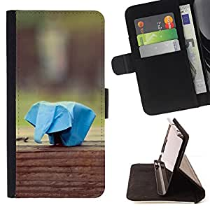 DEVIL CASE - FOR Sony Xperia Z1 Compact D5503 - Paper Animal Plane Elephant Blue Art - Style PU Leather Case Wallet Flip Stand Flap Closure Cover