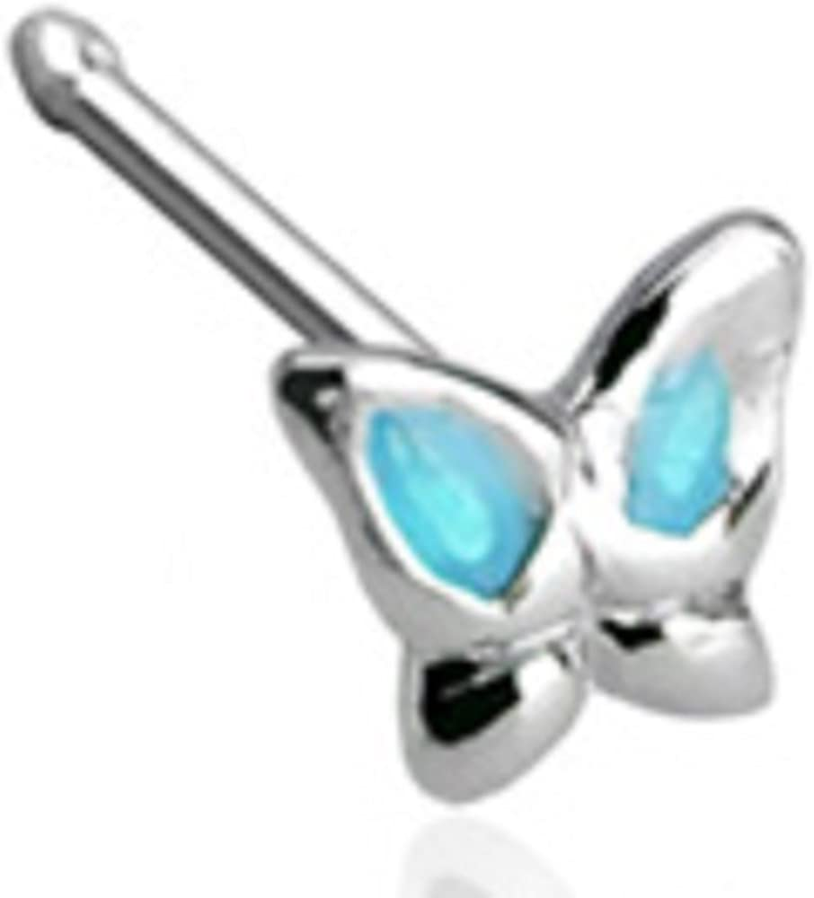 Body Accentz 20GA .925 Sterling Silver Nose Stud with 3mm Butterfly with Epoxy Colored Wings