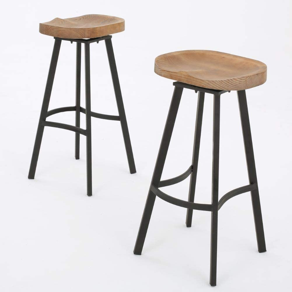 Amazon Com Christopher Knight Home Silas Pinewood Swivel Barstools 2 Pcs Set Antique With A Natural Finish Furniture Decor