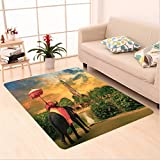 Nalahome Custom carpet Elephants Decor Elephant Dressing With Thai Kingdom Tradition Accessories Pagoda In Ayuthaya area rugs for Living Dining Room Bedroom Hallway Office Carpet (6.5' X 10')