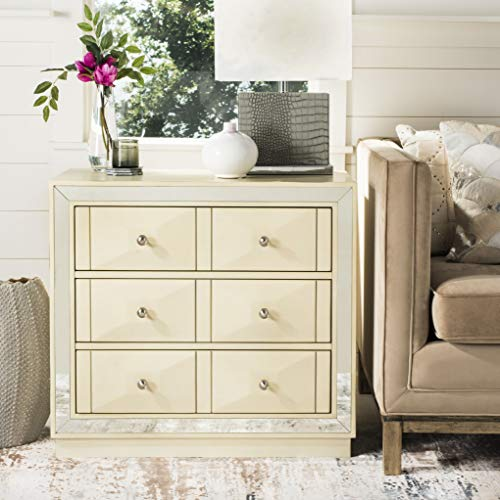 Safavieh CHS6401B Home Collection Sloane Antique Beige and Nickel 3 Chest of Drawers, Mirror (Drawers With Mirror Chest)