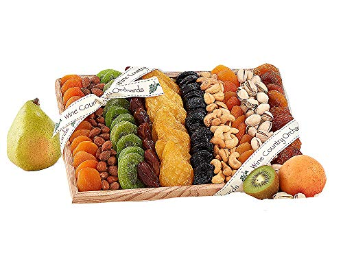 Wine Country Gift Baskets Dried Fruit and Nut Sampler Gift Tray. Token of Appreciation Gift Tray. Premium Healthy Food Choice Perfect For Happy Birthday Gift, Family and Friends Gift - Tray Tidbit Holiday