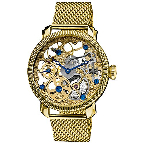 Akribos XXIV Automatic Skeleton Mechanical Men's Watch - See Through Dial With IP Case with A Skeletonized Silver Dial on Luxury Mesh Bracelet - AK526