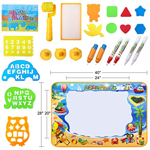 51zkNxj1HxL - Toyard Doodle Mat, Large Aqua Magic Water Drawing Mat Toy Gifts for Boys Girls Kids Painting Writing Pad Educational Learning Toys for Toddler