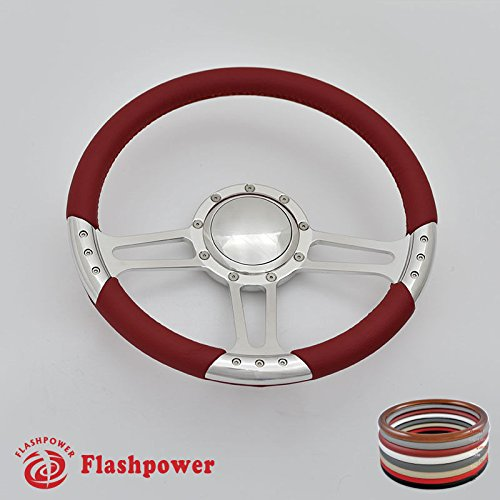 Flashpower 14'' Trinity Billet Full Wrap 9 Bolts Steering Wheel with 2'' Dish and Horn Button (Red)