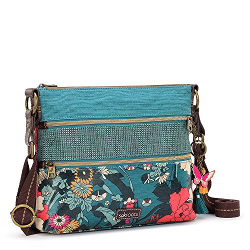 Sakroots Artist Circle Basic Crossbody (Teal Flower Power)