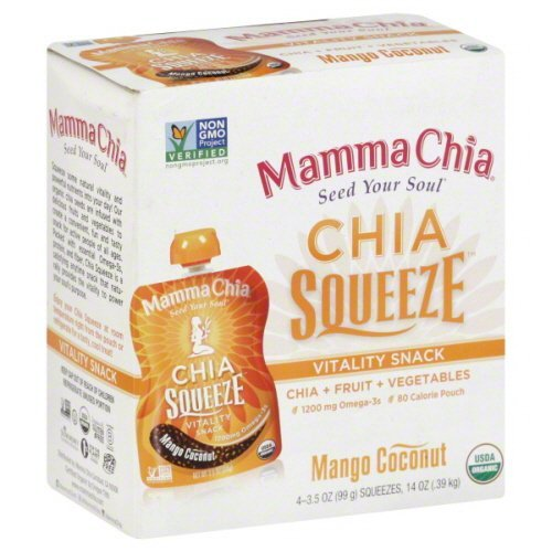 Chia Squeeze Vitality Snack Mango Coconut 4 Pouches 3.50 Ounces (Case of 6)