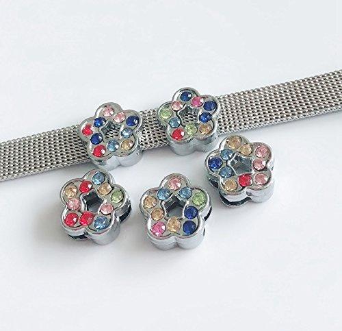 50PCS 8MM Mixed Color Rhinestone Flower Slide Charms Slide Letters Fit 8mm Belts Bracelets