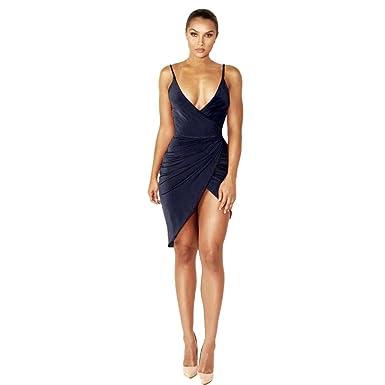 0bd538fd922 LONUPAZZ Robe De Soirée Moulante Courte Femme Ete sans Manches Col V Robe  Bretelles Asymétrique  Amazon.fr  Vêtements et accessoires