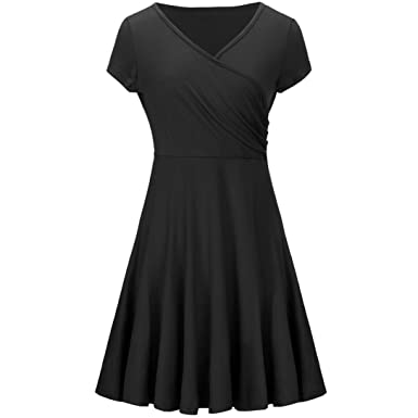 Women A Line Dress V-Neck Wrap Jersey Dress Short Sleeve 3/4 Sleeve
