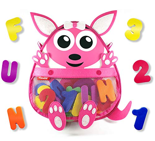 Kangaroo Bath Toy Organizer with Toys - Premium Mesh Bath Toy Storage Net + 36 Foam Bath Letters and Numbers + 2 Reusable Adhesives + Bonus E-Book - Cute, Fun, Educational - Available in Blue & Pink