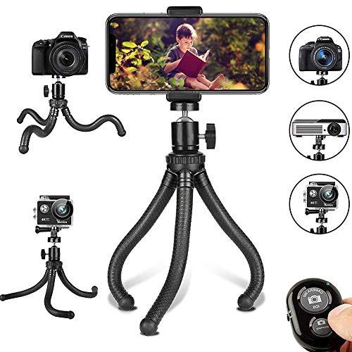YYLH Trípode móvil flexible Ajustable Soporte de la cámara, Con Control Remoto Inalámbrico Y Clip Universal Rotación 360...