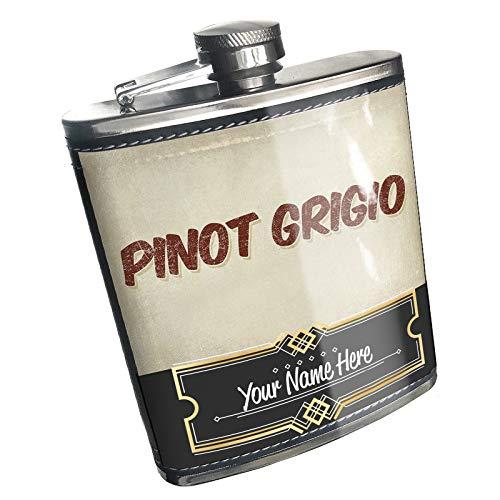 Neonblond Flask Pinot Grigio Wine, Vintage style Custom Name Stainless Steel