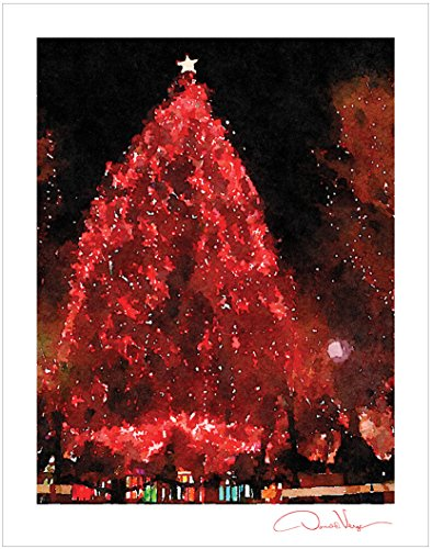 JOY Christmas Tree Fine Art Holiday Poster Print. 11x14. Great For Framing. Unique Birthday Gifts for Him & Her. Best Quality Christmas, Valentines Day & Mother's Day Gifts for Men, Women & Kids.