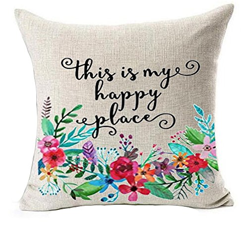 (Plant Flower Phrases This is My Happy Place Inspirational Housewarming Birthday Gift Cotton Linen Throw Pillow Covers Case Cushion Cover Sofa Decorative Square 18 x 18 inch (2))