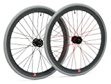 Retrospec Bicycles Mantra Fixed-Gear/Single-Speed Wheelset, 700cm, Grey with Red Spokes