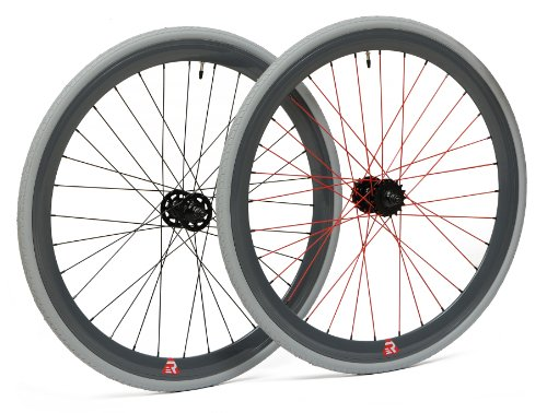 Single Speed Rims (Retrospec Bicycles Mantra Fixed-Gear/Single-Speed Wheelset, 700cm, Grey with Red Spokes)