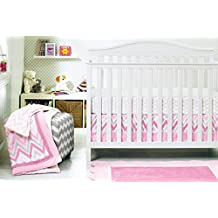 Baby Girl Pink Stripe 8pcs Crib Bedding Set: 4)bumper,1)quilt,1)fitted sheet,1)fleece blanket,1)dust ruffle