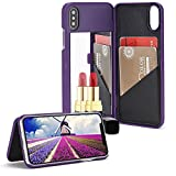 For iPhone X Mirror Wallet Case, Aearl Matte Hard PC Make Up Mirror Cover PU Leather Card Slot Holder with Kick Stand Function Protective Bumper Shell with Screen Protector for iPhone X - Purple