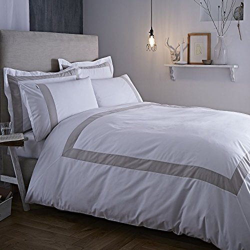 Bianca 100% Cotton Soft Luxury Quality Duvet Cover Bedding Set - Natural Tailored Stripe - UK Single 39019 Single