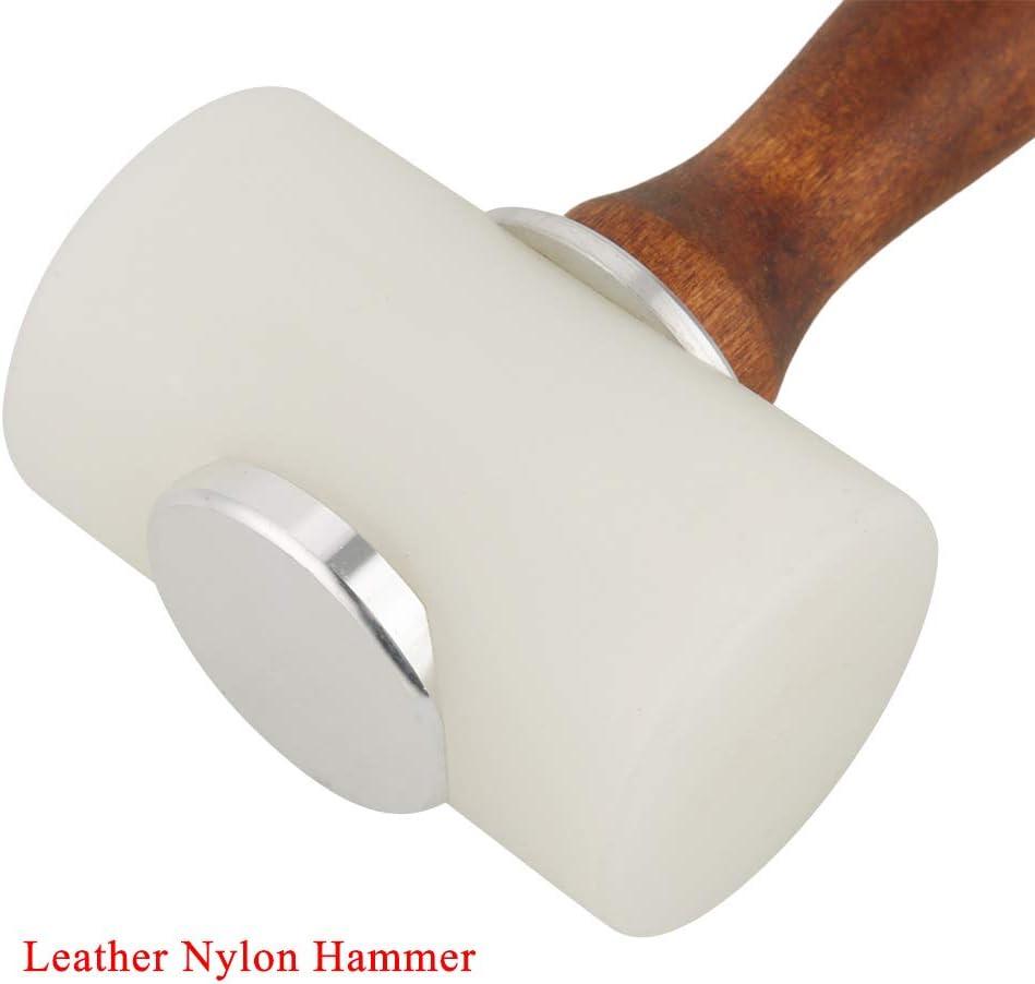 Cocoarm Leathercraft Marteau en nylon avec manche en bois pour cuir en forme de T