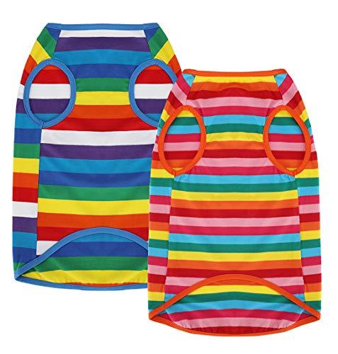 Uvoguepaw PetVougue Dog Clothes Striped Shirts for Small Medium Pitbull Large Dogs Boy Girl