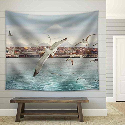 Seagull Istanbul Bosporus Turkey Seagull Flying Over The Sea Fabric Wall