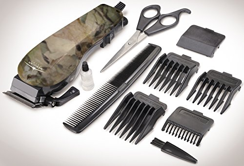 10 Piece Camouflage Hair Clipper Set With Adjustable Guard Comb Cleaning Brush And More